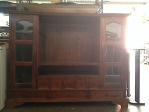 Large Wooden Display cabinet/TV stand. Arundel Gold Coast City Preview