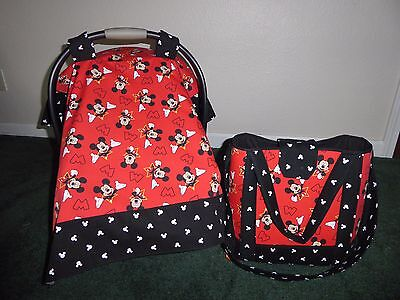 **MICKEY MOUSE** Diaper Bag/tote/toddler bag & Car Seat Canopy-Cover Handmade