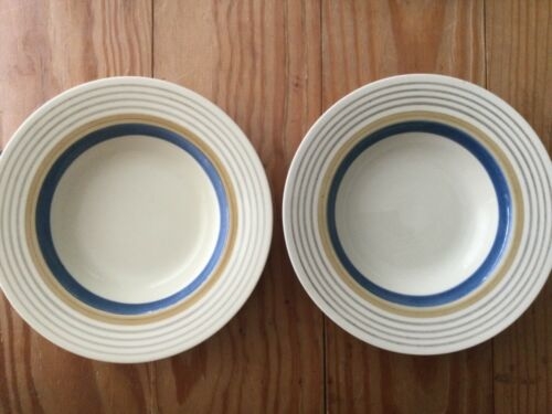 "Lot of TWO: SUSIE COOPER Wedding Rings Tan & Blue 8"" Diameter BOWLS ENGLAND"