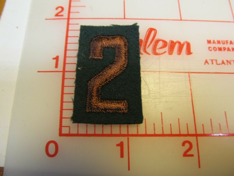 Explorer uniform number 2 two brown on green felt collectible patch (b50)