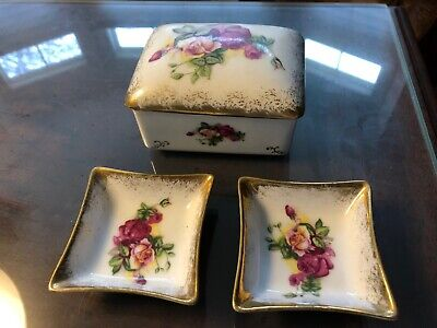 Hal-Sey Fifth (Japan) Jewelry Box w/ 2 Matching Ring Dishes -- Great Condition!