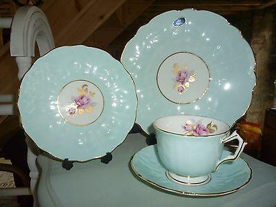 AYNSLEY CROCUS BLUE - TEA CUP, SAUCER TEA PLATE TRIO & CAKE PLATE  DUCK EGG VGC