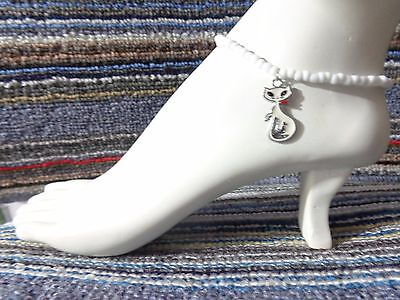 CAT kitty enamel charm ankle bracelet beads anklet stretchy handmade