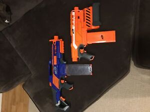 Nerf guns.  Demolished and  rapidstrike
