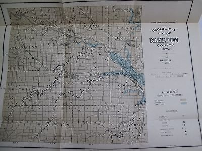 Lot of 6 Large Color Folding Maps Iowa Geological Survey 1901 Geology Counties