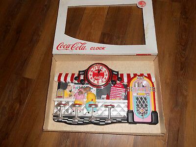 Coca Cola Diner Clock by Burwood Products Jukebox/Boy Girl Ice Cream Float/ NIB