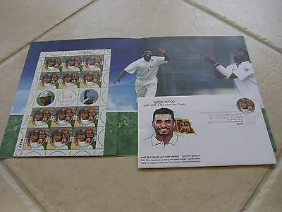 Sri Lanka Muralidaran Cricket Stamp and FDC Souvenir Pack - Rare