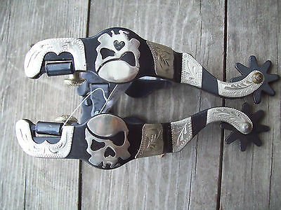 Black silver engraved accents Skull design Cowboy Cowgirl western spurs