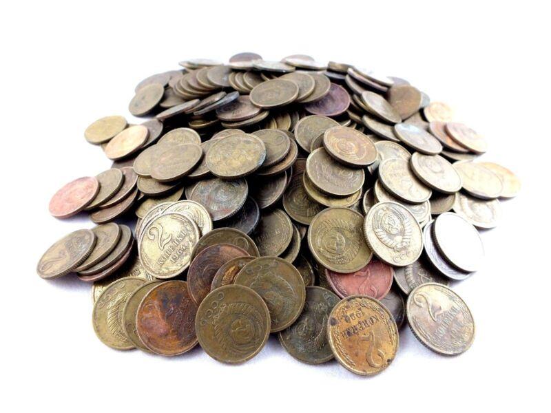 LOT OF 100 pcs 200 grams 2 kopek 1961-1991 old USSR Soviet Russia coins