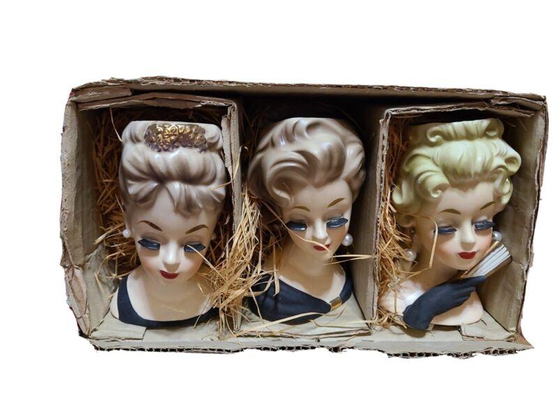 Vintage Inarco Young Lady Head Planters In Original Box