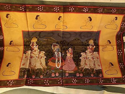 Antique Old Hindu / Buddhist God India Hand Painting Cloth Fabric material Ink