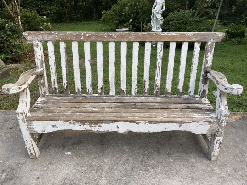 1890 Anthropologie UK Boardwalk Beach Bench White Paint Antique England VTG Wood