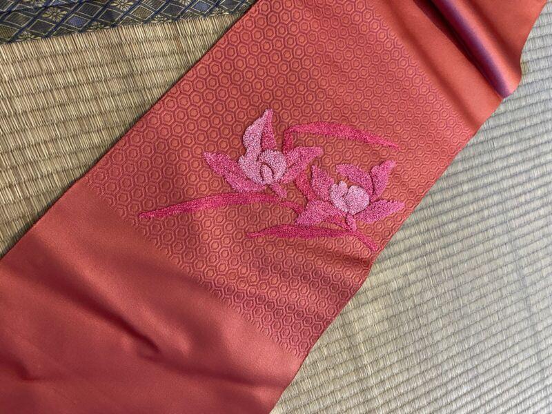 Vintage Japanese Nagoya Obi/  Pink Color / Flower #682