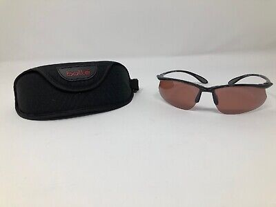 Bolle Sunglasses Polarized Men Black Red Tint Wrap Vintage w Case (Red Tinted Sunglasses Men)