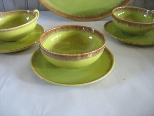8 pc Brock Ware California Pottery Desert Mist Green Tea Cups & Saucers