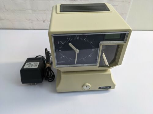 Amano TCX-11 Electronic Time Card Clock Analog Digital LCD Tested! Payroll PuncH