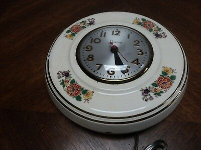 Vintage Sessions Electric Kitchen Wall Clock Ceramic Case Floral Gold Trim