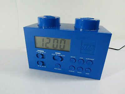 BLUE LEGO ALARM CLOCK Radio Child's Room Building Brick Blocks Toys Kids