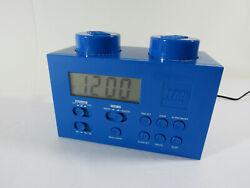 BLUE LEGO ALARM CLOCK Radio Child's Room Building Brick Blocks Toys Kids