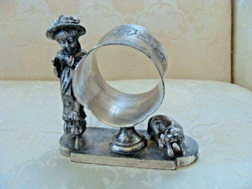 RARE Silver Plate Figural Napkin Ring Kate Greenaway Girl & Dog Tufts 1590 Antiq