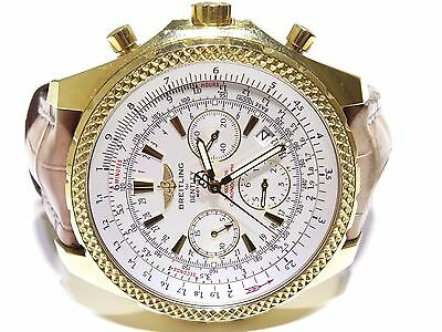 Breitling For Bentley Chronograph K25362 Yellow Gold Brown Leather Band Watch