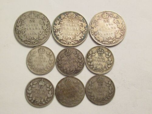 Lot of 9 Canada Silver Coins,  3 25 c + 6 10 c, mix dates