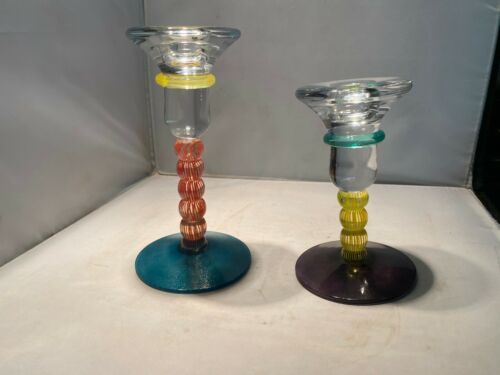 PAIR OF KOSTA BODA CANDLESTICKS BY K. ENGMAN SIGNED MULTI COLORED ART GLASS