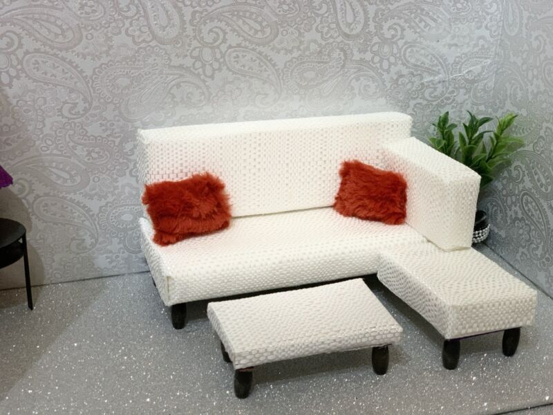 barbie doll furniture 1/6 scale-white sofa sectional