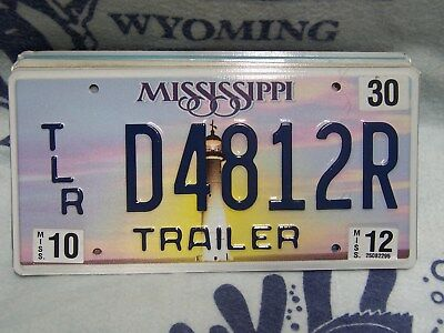 D 4812 R = October 2012 Mississippi Lighthouse Trailer License Plate