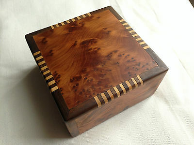 Vintage desk or jewelry wooden box made of thuja wood