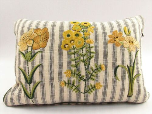 Bee & Willow Striped Golden Bloom Embroidered Throw Pillow G085
