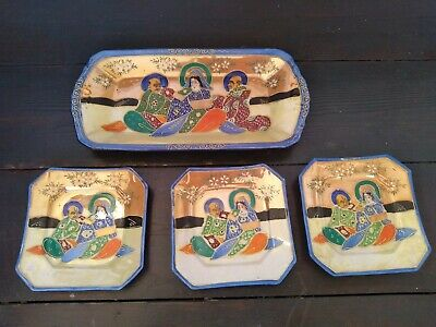 Set of Vintage Satsuma dishes painted man and woman