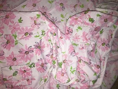 VINTAGE TWIN FITTED FLAT SHEET SET~RETRO PINK DAISIES on WHITE~GREEN (Retro Sheet Set)