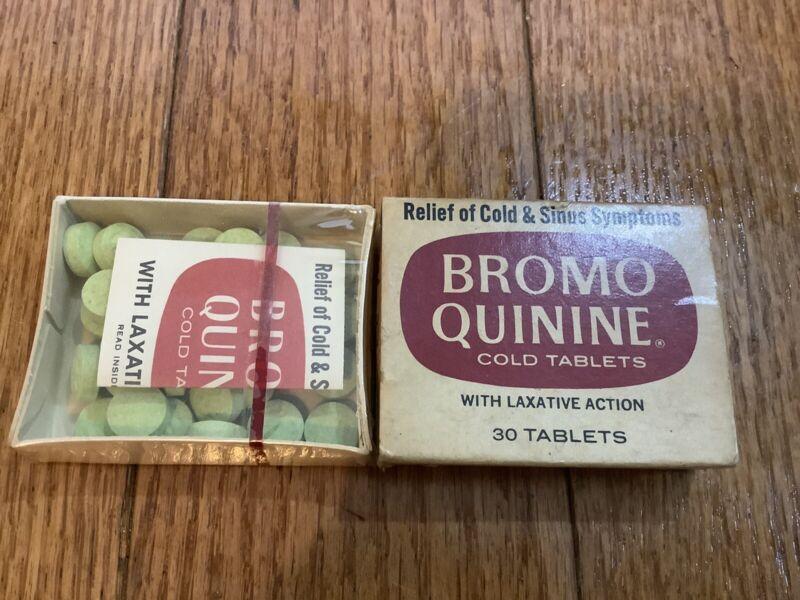 Vintage Bromo Quinine Cold Tablets Collectible Cardboard Box Unused