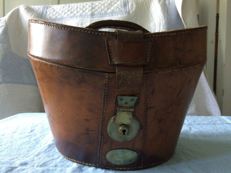 Antique Victorian Leather Hat Box