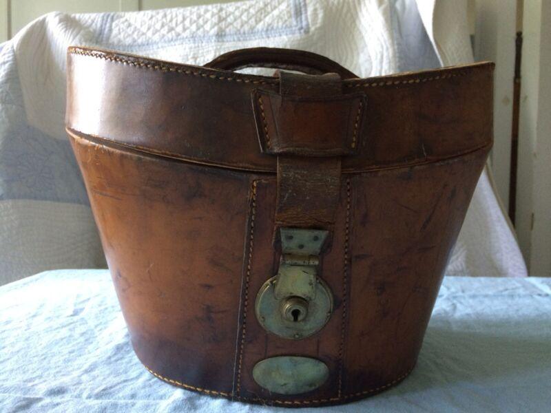 Antique Victorian Leather Hat Box