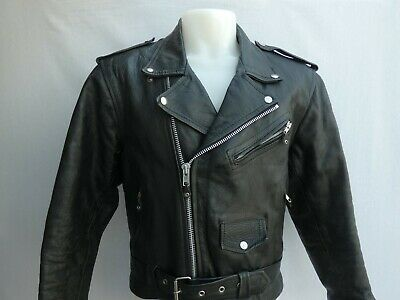 VINTAGE AKASO LEATHER BIKER JACKET BLACK SIZE 42 VERY GOOD CONDITION!!!!!!