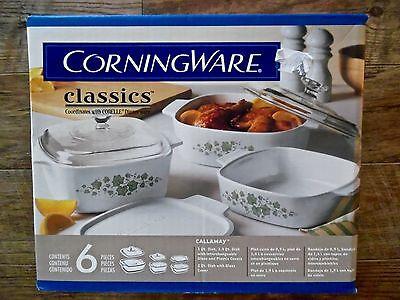 Vintage Corning Ware Classics Corell Dinnerware 6 Piece Casserole set MIB NEW