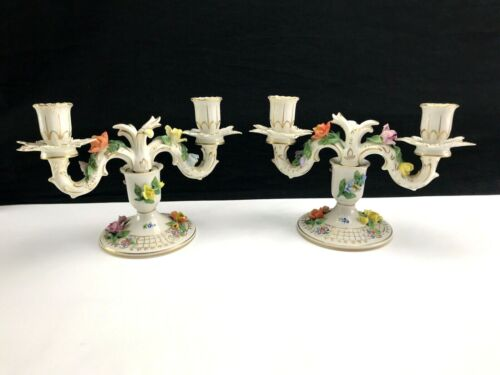 Pair of Carl Thieme DRESDEN Two-Branch BOUQUET PATTERN Candelabra Candle Holders