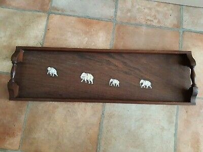 Lovely Vintage Wooden Serving Tray With Elephant Detail 24