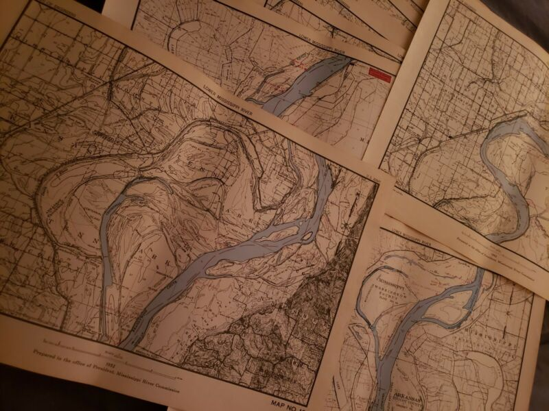 18 Large 70-year old Maps Lower Mississippi River ARMY ENGINEERS 17x12! Choice!