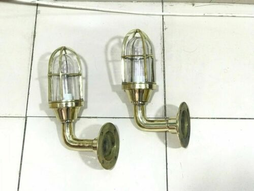 NAUTICAL STYLE ALLEYWAY BULKHEAD WALL BRASS SMALL NEW LIGHT 2 PIECE