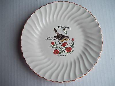 Montana State Bird and Flower Meadowlark Bitter Root Souvenir Plate 7 inches