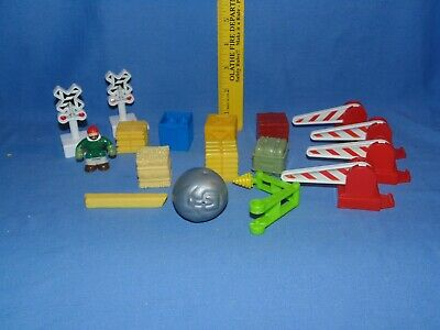 Fisher Price Geo Trax Signs - geotrax train crossing direction crates ball