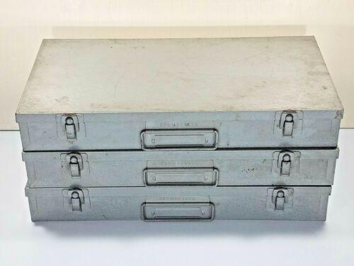 Lot of 3 Brumberger Metal Slide Coin Holder Case File Box 150 Each