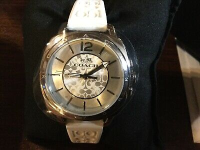 Coach Women's Boyfriend White Silicone Watch14502092 New in Box