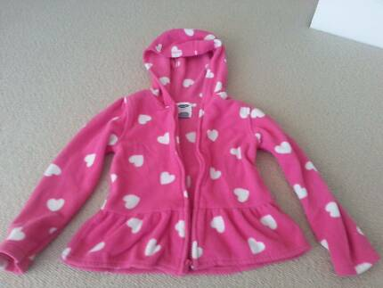 Girls Fleece Jacket - Pink and White Hearts - Old Navy - Size 5T