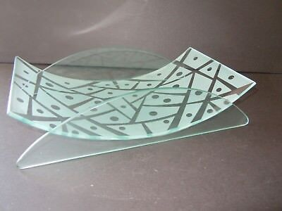 Modern Shallow Clear & Frosted Glass Bowl, Vase or Platter Trinkets Ikebana