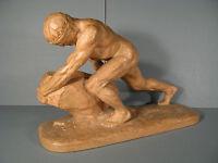 Sisyphus Sculpture Terracotta Signed Bargas / Statue Athlete Terracotta -  - ebay.co.uk