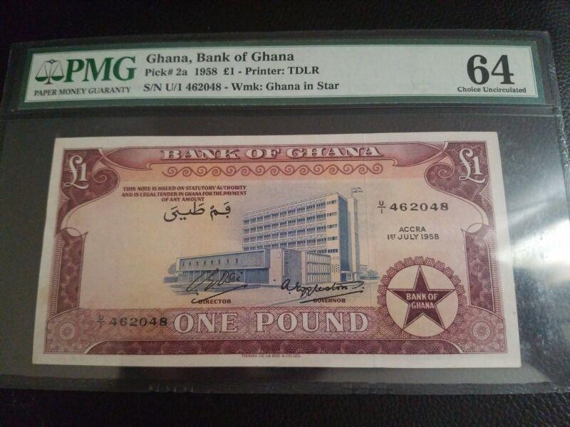 Ghana P2a 1958 1 Pound UNC PMG64